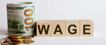 Business Concept, wooden blocks Wage with money. Growing business startup concepts.