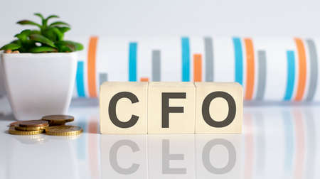 CFO word letters on wooden blocks with coins. BUSINESS concept.