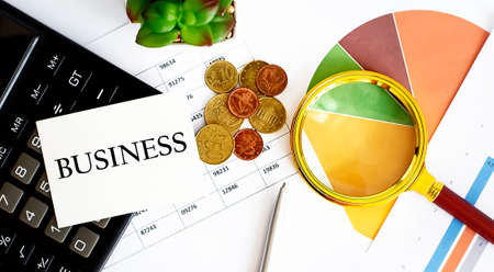 BUSINESStext with office tools and charts.Analysis target audience site or page on network. Stok Fotoğraf