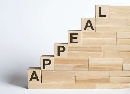 Three wooden cubes with letters APPEAL on the white table.