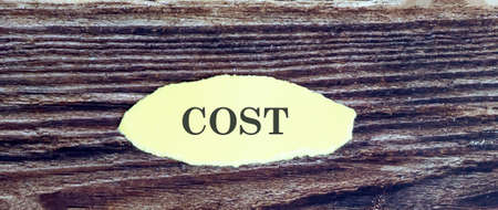 Business and finance concept. View of piece of paper written word COST on wooden background,