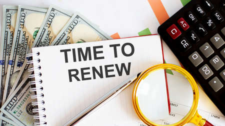 Word writing text Time to Renew. Business concept with chart, dollars, office tools