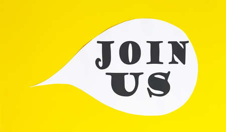 JOIN US speech bubble isolated on yellow background.
