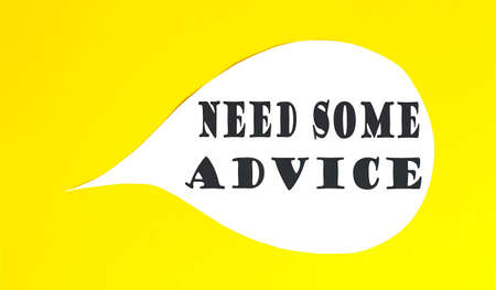 NEED SOME ADVICE speech bubble isolated on the yellow background. Reklamní fotografie