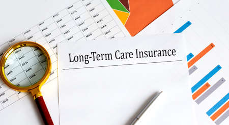 Long-term care insurance text on the chart background