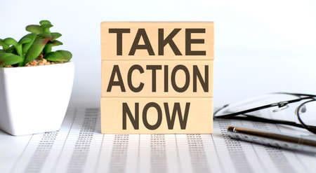 Take Action Now text on wooden cubes on chart