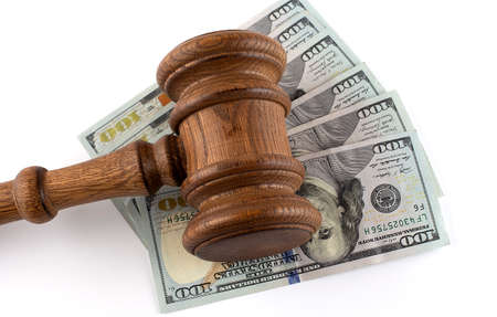 Gavel on the dollars on white background, business concept