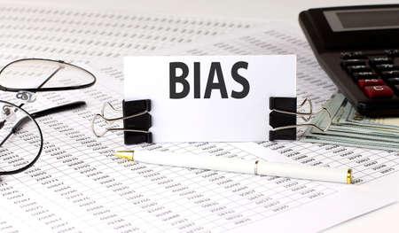Word writing text BIAS on white sticker on chart background. Business 版權商用圖片