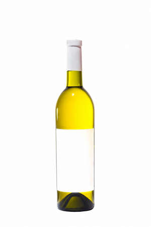 botle: Bottle with white wine and blank sticker. Stock Photo