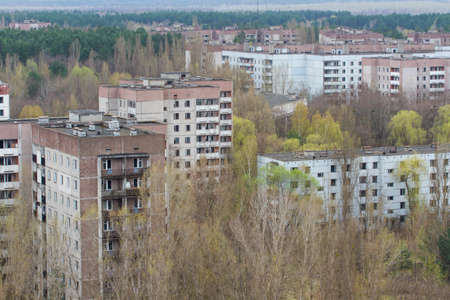 View of the dead city Pripyat, from above