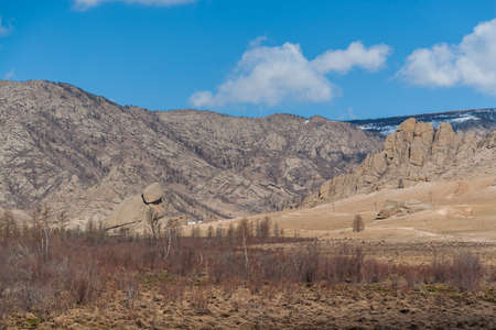 Turtle Rock and other Mongolian mountains. Springtime