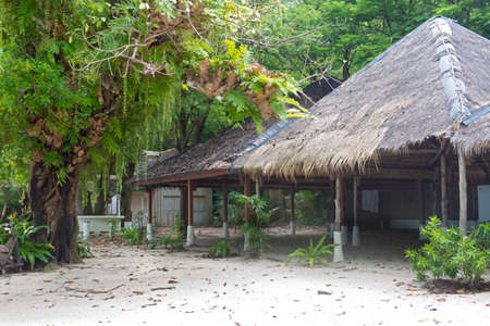 Old bamboo bungalow on a tropical island, for rent