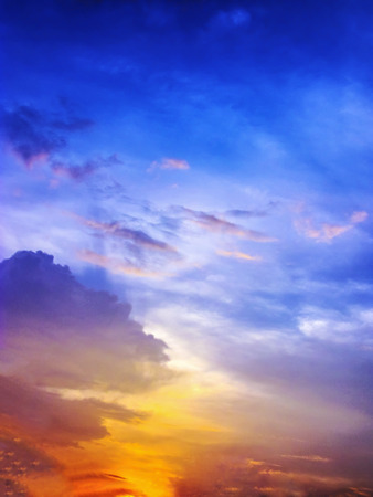 blue ocean: Colorful Sunset with multy color Stock Photo