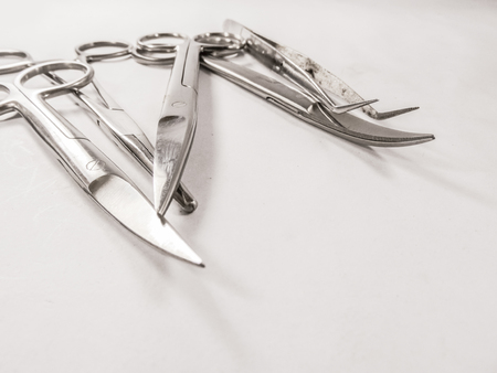 tarnished: Surgical instruments in a setup for O.T.