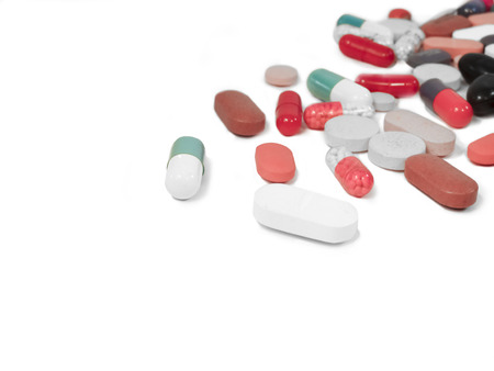 capsules tablets: mediciones,capsules,tablets scattered on white background and isolated Stock Photo