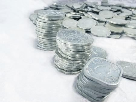 5 to 10: Aluminium old coins..lost in time.of 5,10 and 20 paise..Indian rupees Stock Photo