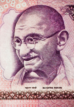 lithograph: Mahatma Gandhi on Currency Note Stock Photo