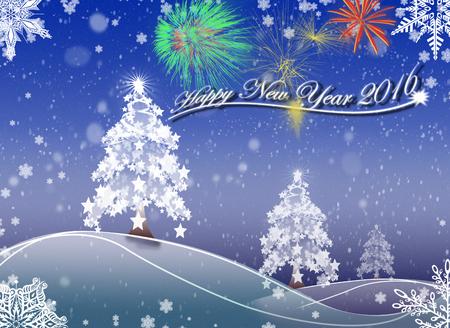 winter scenery: Happy New Year 2016_2 Background Illustration