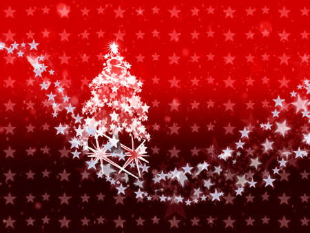 star path: The christmas tree and a star path coming from the heaven in the patterned star red background .