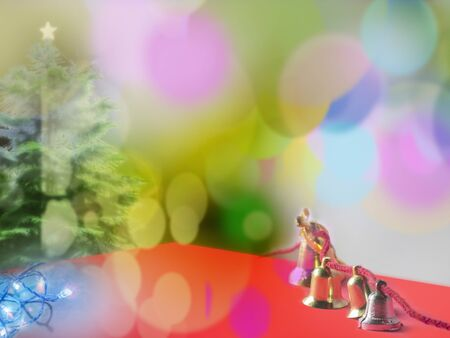 prepare: Cristmas bells,tree,lighs - Prepare for the Merry Xmas in the brul bokeh background.