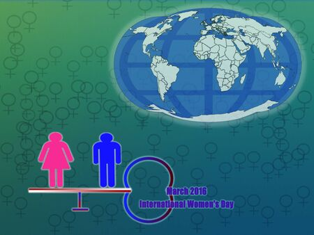 equity: 8th March of every year is International (working)Womens Day campaign.2016 theme is gender equity by 2030. Stock Photo
