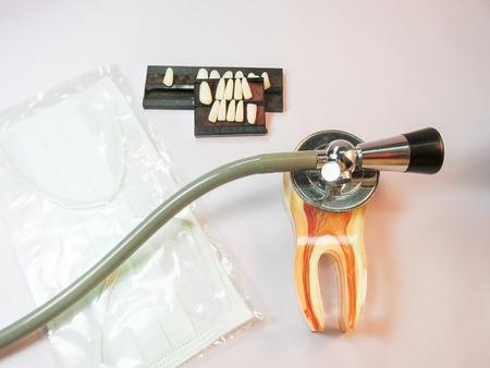 artificial teeth: Dental Care concept with artificial teeth. Stock Photo