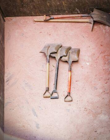 obrero: Labourer tools  on the working place. Foto de archivo