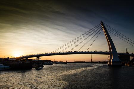 Sunset at Lovers bridge in Tamsui,Taiwan. 版權商用圖片
