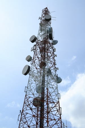 Telecommunication tower with blue sky background  Stock Photo