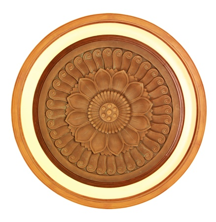 lotus temple: Carved wooden detail in lotus pattern