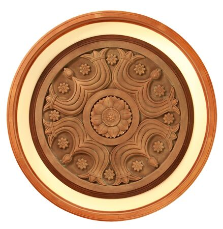 Carved wooden detail in lotus pattern