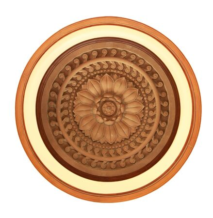 Carved wooden detail in lotus pattern photo