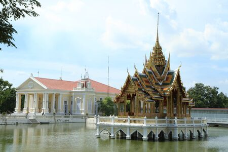 Bang Pa-In Palace Aisawan Thiphya-Art (Divine Seat of Personal Freedom) in Ayuthaya province, Thailand.  Stock Photo - 10086169