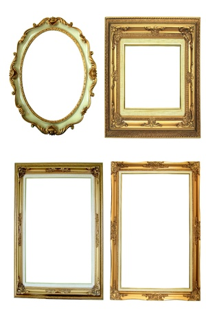 Four antique picture frames isolated on white Stock Photo - 10179445
