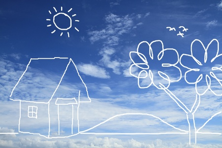 Conceptual of house in nature environment on blue sky