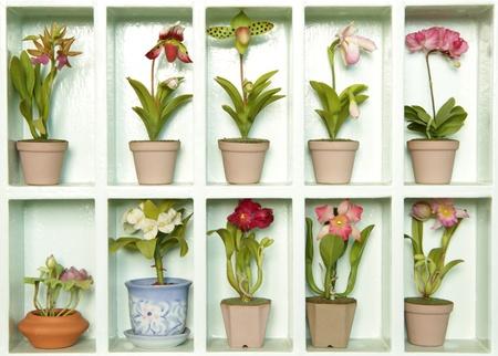 Bunte k�nstliche Ton Blume Blumen-Kabinett  Lizenzfreie Bilder