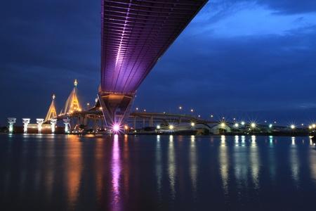 Bhumibol Bridge in Thailand, also known as the Industrial Ring Road Bridge. The bridge crosses the Chao Phraya River.  photo