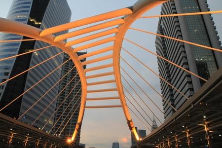 Pubic skywalk at bangkok downtown square ,thailand