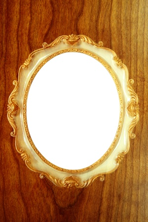 Picture frames  on brown wooden background photo