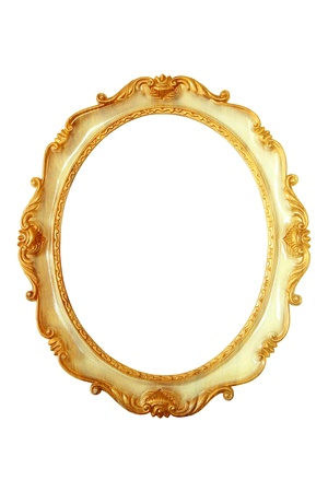Oval golden color picture frame photo