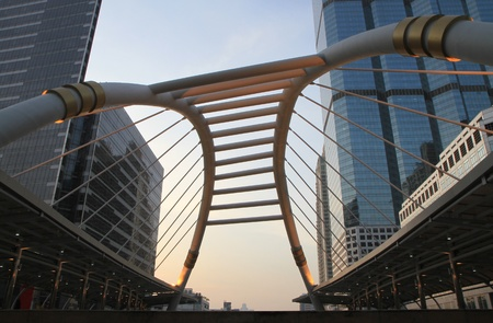 Pubic skywalk at Bangkok downtown square ,Thailand  photo