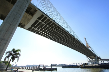 Bhumibol Bridge in Thailand, also known as the Industrial Ring Road Bridge. The bridge crosses the Chao Phraya River.  photo