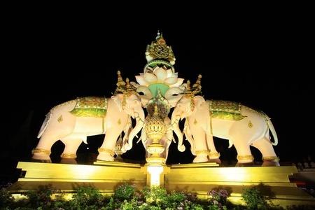 the majesty: BANGKOK THAILAND - DECEMBER 11 : The elephants statue decoration for His Majesty the King, King Bhumibol Adulyadej 84th birthday, on December 11, 2011 in Bangkok, Thailand