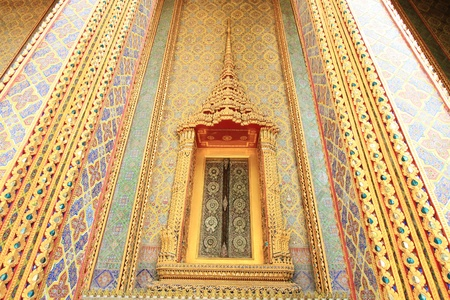 Traditional Thai style window and decoration on the wall  photo