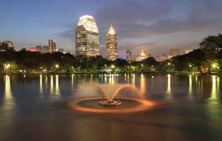 Night view of Bangkok from Lumpini Park, Bangkok, Thailand.  photo
