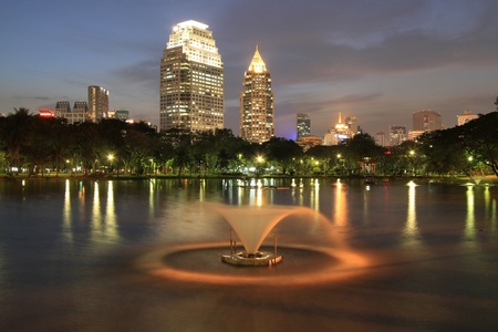 lumpini: Night view of Bangkok from Lumpini Park, Bangkok, Thailand.