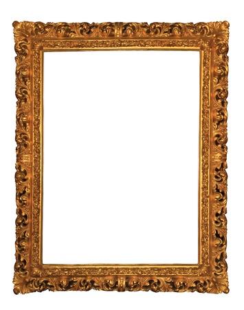 Wooden frame over white background