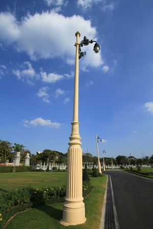Street lamp on blue sky background photo