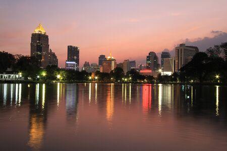 lumpini: Night view of Bangkok city from Lumpini Park, Bangkok, Thailand.  Editorial