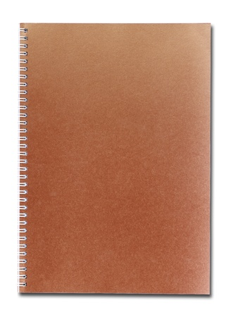 Red-brown notebook isolated on white background